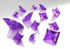 Conjunto de las piedras amethyst de la lila cuadrada - 3D Imagen de archivo