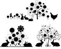 Conjunto de las siluetas de Pascua. stock de ilustración