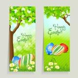 Conjunto de las tarjetas de pascua con la hierba y el árbol Imagen de archivo libre de regalías