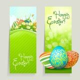Conjunto de las tarjetas de pascua con los huevos Imagenes de archivo