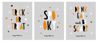 Conjunto de las tarjetas divertidas de Víspera de Todos los Santos Víspera de Todos los Santos feliz Truco o convite ilustración del vector