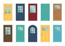 Conjunto de las varias puertas en el fondo blanco Fotos de archivo