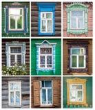 Conjunto de las ventanas de las casas rusas. Imagen de archivo libre de regalías