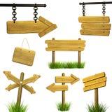Conjunto de letreros de madera Foto de archivo libre de regalías