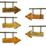 Conjunto de letreros de madera Fotografía de archivo libre de regalías