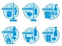 Conjunto de limpieza del icono Fotografía de archivo