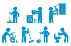 Conjunto de limpieza del icono con la figura gente Foto de archivo libre de regalías