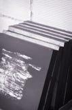 Conjunto de lona acabada del petróleo en un estudio del artista Foto de archivo
