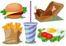 Conjunto de los alimentos de preparación rápida ilustración del vector