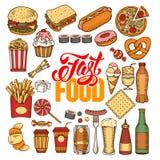 Conjunto de los alimentos de preparación rápida Foto de archivo