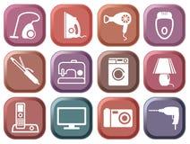 Conjunto de los aparatos electrodomésticos de los botones Fotografía de archivo