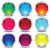 Conjunto de los botones de cristal Imagen de archivo libre de regalías