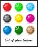 Conjunto de los botones de cristal Fotografía de archivo