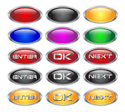Conjunto de los botones en blanco metálicos de cristal del Web Foto de archivo