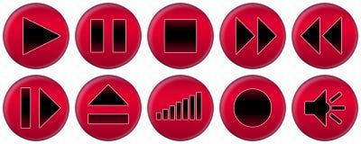 Conjunto de los botones rojos para el jugador de música Fotos de archivo libres de regalías