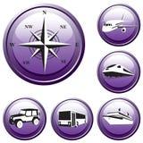 Conjunto de los botones. Viaje. Vector. Fotos de archivo
