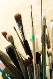 Conjunto de los cepillos para la pintura imagen de archivo libre de regalías