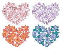 Conjunto de los corazones de la tarjeta del día de San Valentín Ilustración del Vector