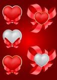 Conjunto de los corazones de la tarjeta del día de San Valentín decorativa del santo Foto de archivo libre de regalías