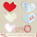 Conjunto de los corazones de papel. Imágenes de archivo libres de regalías
