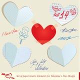 Conjunto de los corazones de papel. Fotografía de archivo libre de regalías