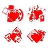 Conjunto de los corazones estilizados en un tema de la manía. Fotos de archivo