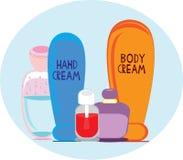 Conjunto de los cosméticos para irse diario Stock de ilustración