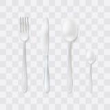 Conjunto de los cubiertos Bifurcación, cuchara y cuchillo de plata Vector de los platos y cubiertos de la visión superior Present Fotos de archivo