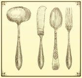 Conjunto de los cubiertos Doodle el estilo Imagenes de archivo
