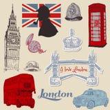 Conjunto de los doodles de Londres Imagen de archivo libre de regalías