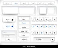 Conjunto de los elementos blancos del ui Imagen de archivo libre de regalías