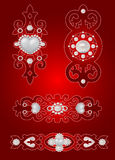 Conjunto de los elementos de la tarjeta del día de San Valentín decorativa del santo Fotos de archivo libres de regalías