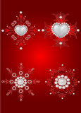 Conjunto de los elementos de la tarjeta del día de San Valentín decorativa del santo Fotos de archivo
