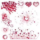 Conjunto de los elementos del diseño de la tarjeta del día de San Valentín ilustración del vector