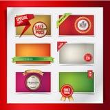 Conjunto de los elementos del Web para las promociones de los productos Fotografía de archivo libre de regalías