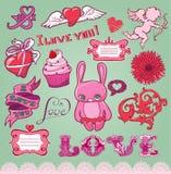 Conjunto de los elementos a mano de la tarjeta del día de San Valentín para el diseño Imágenes de archivo libres de regalías
