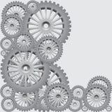 Conjunto de los engranajes de plata Imagenes de archivo