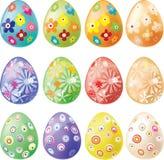 Conjunto de los huevos de Pascua adornados Foto de archivo