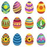 Conjunto de los huevos de Pascua coloreados Foto de archivo