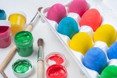 Conjunto de los huevos de Pascua coloridos Foto de archivo