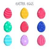 Conjunto de los huevos de Pascua coloridos Fotos de archivo
