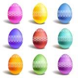 Conjunto de los huevos de Pascua del color Imagen de archivo libre de regalías