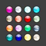 Conjunto de los iconos brillantes del botón para su diseño libre illustration