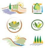 Conjunto de los iconos de la naturaleza para el diseño de la insignia stock de ilustración