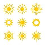 Conjunto de los iconos de Sun Foto de archivo libre de regalías