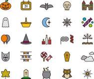Conjunto de los iconos de Víspera de Todos los Santos Fotos de archivo