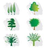 Conjunto de los iconos del árbol para el diseño de la insignia Imagenes de archivo