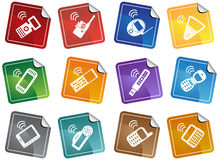 Conjunto de los iconos del teléfono - etiquetas engomadas Imagenes de archivo