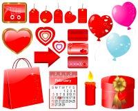 Conjunto de los iconos para el día de tarjeta del día de San Valentín. Imágenes de archivo libres de regalías