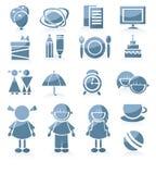 Conjunto de los iconos para el muchacho y la muchacha, routin diario del cabrito Fotos de archivo libres de regalías